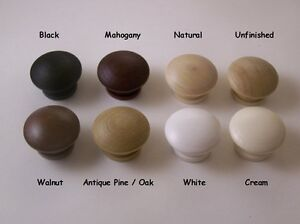Details About Real Solid Wood Wooden 35mm Drawer Cupboard Door Knob 8 Colours Uk Quality New