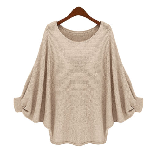 Women Plain Long Sleeve Baggy Pullover Jumper Loose Shirt Tops Casual Sweatshirt
