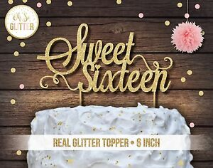 Details About Sweet Sixteen Cake Topper 16 Glitter Party