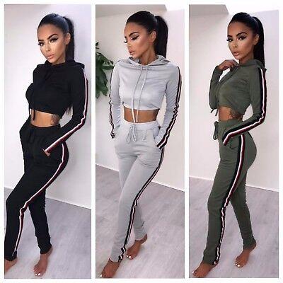 Womens Long Sleeve Striped Hood Crop Top Jogging Loungewear Ladies Tracksuit Set
