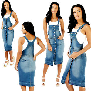 NEW-BUTTON-FRONT-WOMEN-039-S-SEXY-PINAFORE-DRESS-DUNGAREES-DRESS-DENIM-6-TO-18