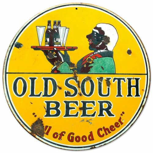 "OLD SOUTH BEER BLACK AMERICANA V1 HEAVY DUTY USA MADE 14/"" ROUND METAL ADV SIGN"