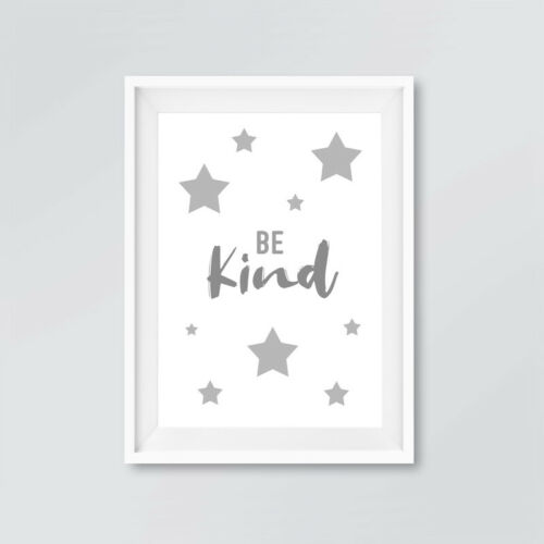 Neutral Grey Star Quote Prints Childrens Bedroom Nursery Decor Pictures Boy Girl