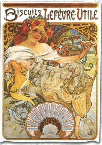 TORCHON DE CUISINE 45x65 cm PUB RETRO BISCUITS LEFEVRE UTILE CALENDRIER 1897