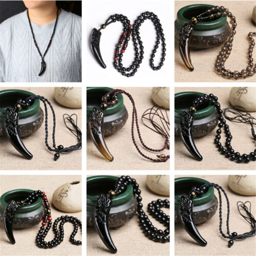 Natural Stone Black And Ice Obsidian Pendant Necklace Wolf Tooth Amulets Fashion