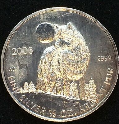 In Capsule 1//2 oz .9999 Fine Silver Dollar 2006 Canada Timber Wolf BU