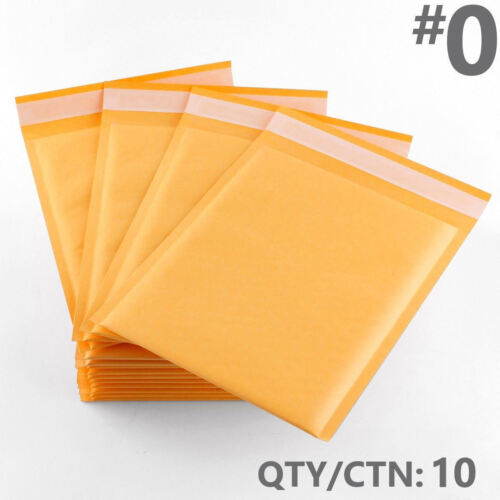 EXACT 10 #0 mailer Kraft Bubble Mailers Padded Envelope Shipping Bags 6.5 x 10