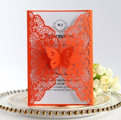 100X Personalized Laser Cut Butterfly Lace Wedding Invitation Card