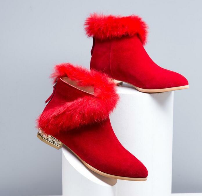 Fashion Women Warm Fur Lining suede Zip Shoes Beads Winter Ladies Ankle Boots
