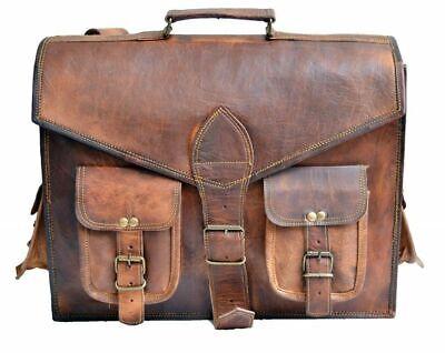 Men/'s Genuine Leather Messenger Shoulder Bag Laptop Case Briefcase Attache Retro