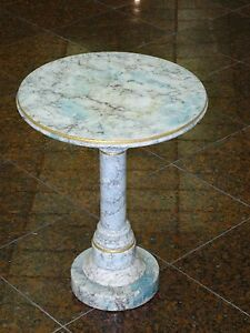 VINTAGE-50-039-s-ITALIAN-CARRERA-BLUE-MARBLE-OCCASIONAL-TABLE-PEDESTAL
