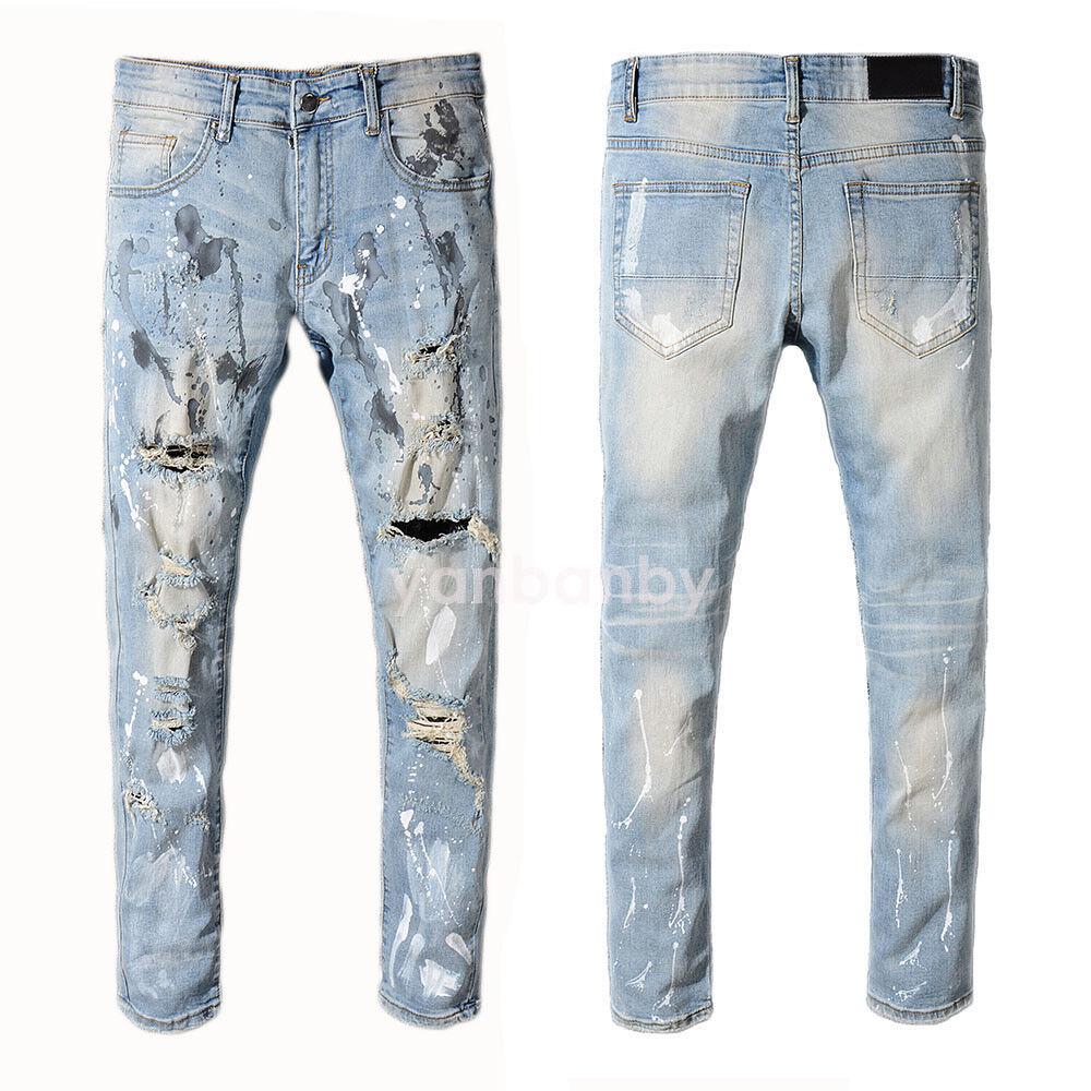 New Men's  Trendy Moto Pants Destroy Rips Slim bluee Jeans Trousers A530C