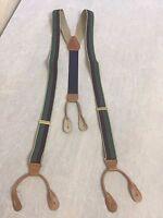 Cole Haan Navy Red Green Stripe Silk Twill Braces Suspenders Brown Leather #277