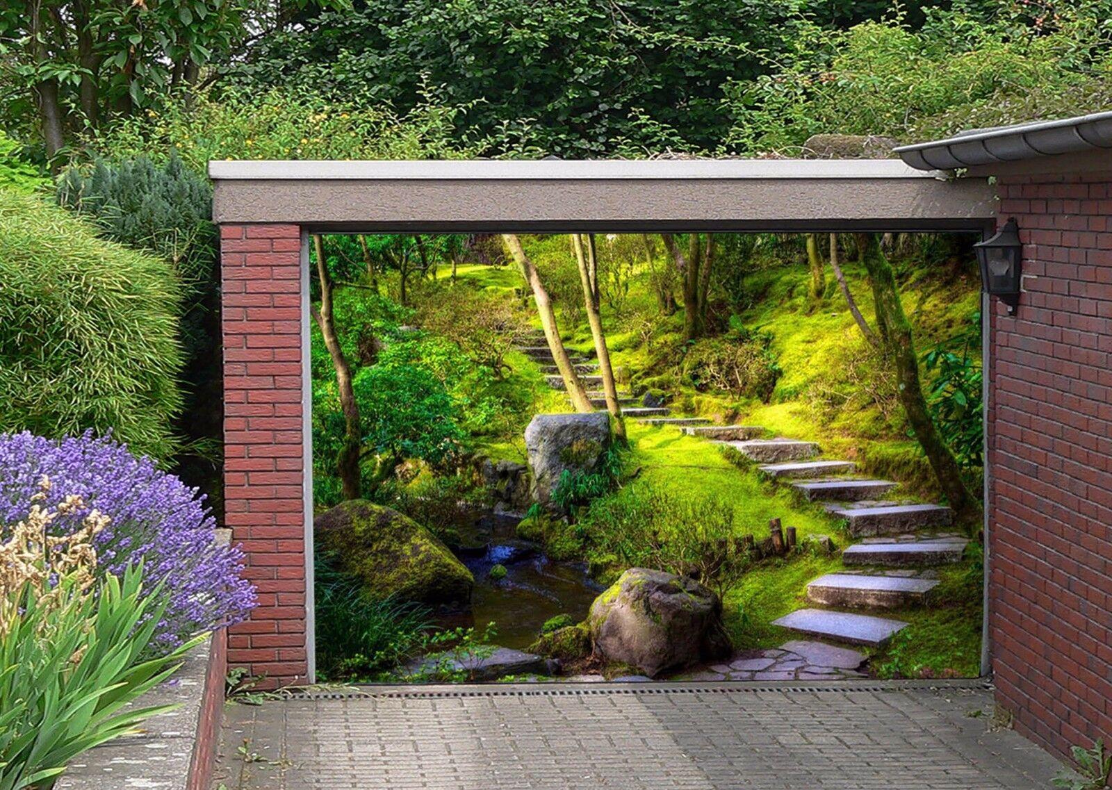 3D Steps, woods 66 Garage Door Murals Wall Print Decal Wall Deco AJ WALLPAPER UK