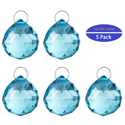 5pcs Green Crystal Ball Healing Lamp Prisms Hanging Suncatcher Wedding Decor30mm