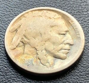 1918-over-7-D-Buffalo-Nickel-Key-Date-5c-1918-7-RARE-Overdate-F-VF-18759