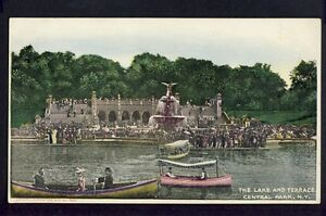 Old-Postcard-UNITED-STATES-The-lake-and-terrace-Central-Park-NEW-YORK