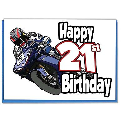 MOTORBIKE THEMED BIRTHDAY CARD SON PERSONALISED BROTHER DAD 18TH 21ST