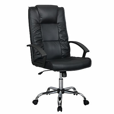 Black Office Chair PU Leather Ergonomic High Back Executive Computer Desk T52