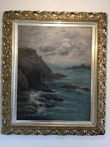 Antique-vintage-original-signed-oil-painting-in-extremely-ornate-gilt-frame-19c