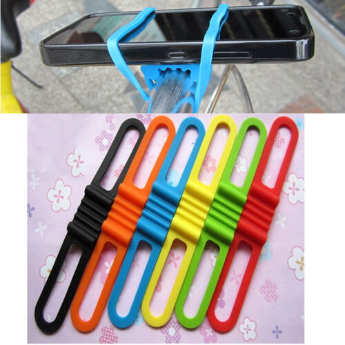 Bicycle Silicone Elastic Torch flashLight Phone Bind Strap Mount Holder FS