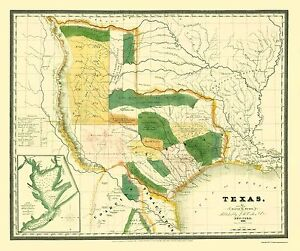 Old State Map Texas Burr 1834 23 X 27 51 Ebay
