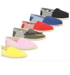 Nuevo para mujer Lona Bombas Alpargatas señoras Lona Zapatos Plimsoll calzado de playa