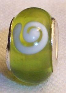 100% Wahr Grün Weiß Wirbel-muster Murano Glas Perle Für Europäisch Schieber Armbänder Diversifizierte Neueste Designs