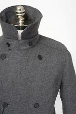 Mens DOLCE & GABBANA Gray Melange Flannel Wool DB Pea Coat Jacket 54 XL NWT
