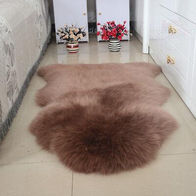 100CM DOUBLE Genuine Premium Soft Sheepskin Lambskin Rug Pelt White Grey Black