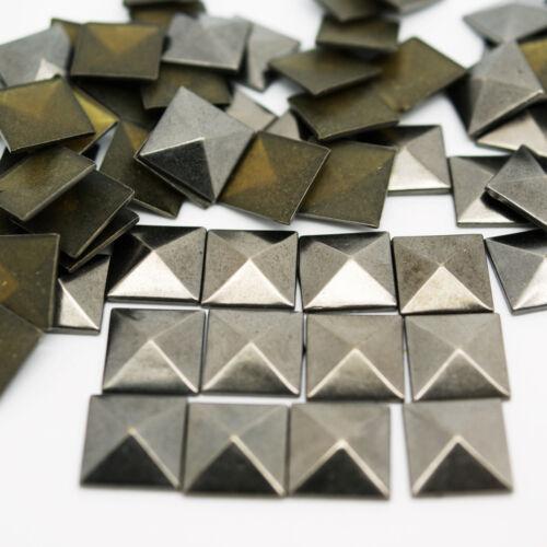 100 X PYRAMID HOT FIX IRON ON SQUARE STUDS METAL CRAFTS SILVER GOLD BLACK NEW