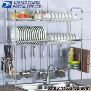 Details about 3 Tier Over The Sink Dish Drying Rack Shelf Stainless Kitchen  W/ Cutlery Holder