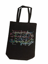 100% COTTON (BLACK) LONDON UNDERGROUND MAP PRINTED SHOULDER CANVAS TOTE BAG