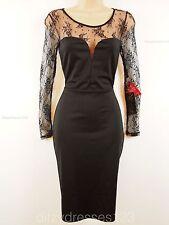 BNWT Kim Kardashian Black Lace Bodycon Wiggle Pencil Dress Size 12 RRP £68