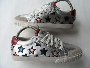 ASH-MAJESTIC-STAR-MOTIF-TRAINERS-IN-SILVER-LEATHER-SZ-5-UK-38-EU-7-5US-EXCELLENT