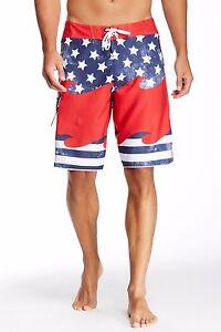 Billabong-Men-039-s-Unified-Board-shorts-Surf-Trunk-Beachwear-Blue-Red-White-Size-33
