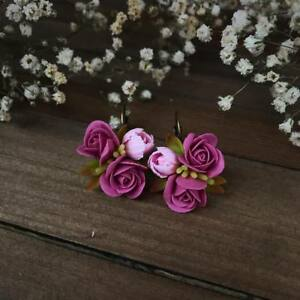 Fashion Jewelry Jewelry & Watches Handmade Handcrafted Fashion Polymer Clay Fimo Pretty Flower Hair Comb