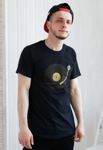 Turntable T Shirt LP Vinyl Record Player Drum and Bass /& n DJ Decks DnB Mens Tee
