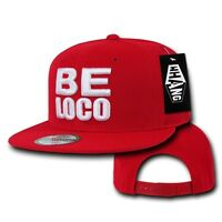 Solid Red Mexican Mexico Be Loco Crazy Embroided Flat Bill Snapback Snap Hat Cap