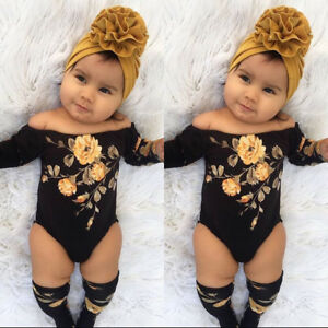 US-3PCS-Newborn-Baby-Girl-Off-Shoulder-Flower-Romper-Leg-Warmers-Outfits-Clothes