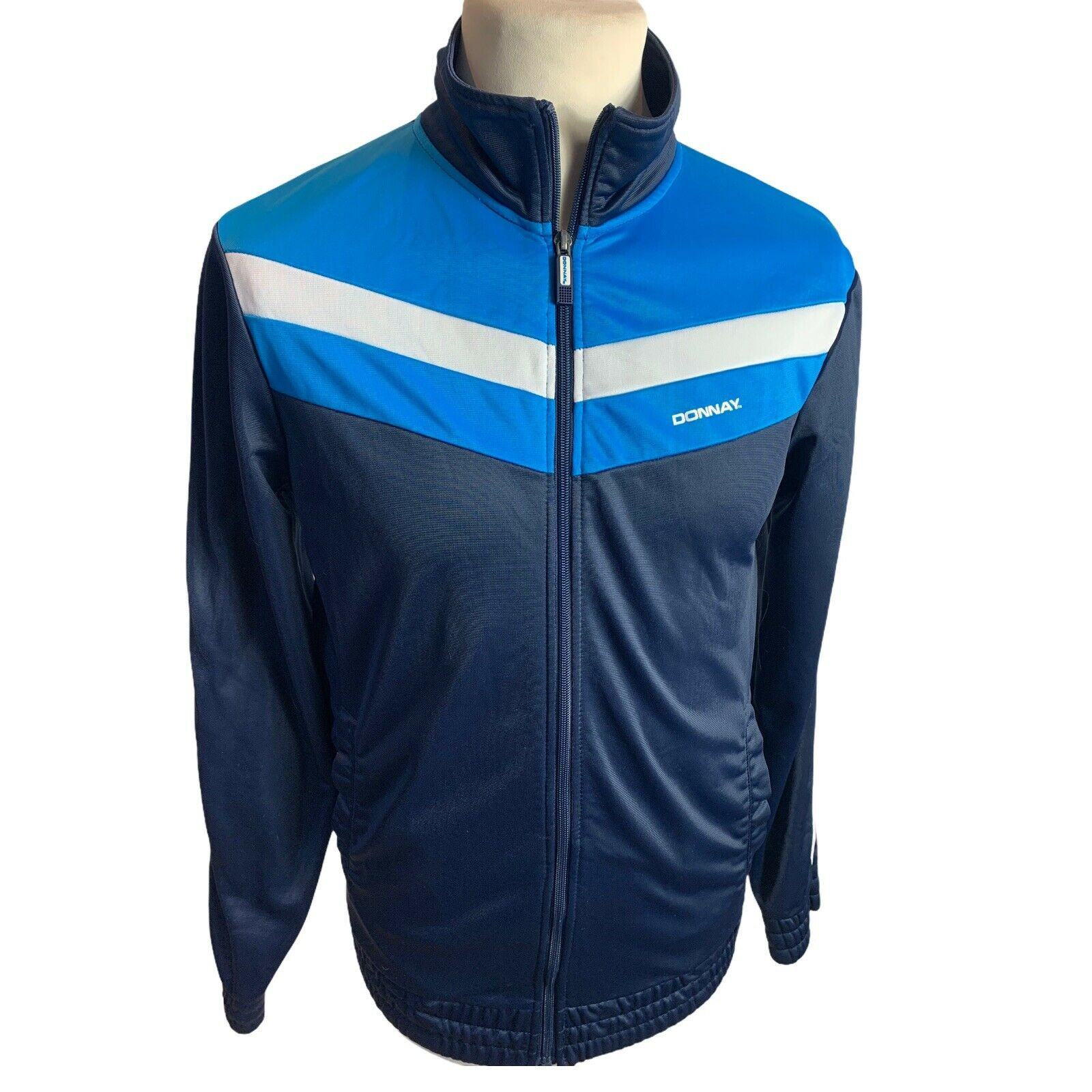 Donnay Navy Blue White Zip Up Tracksuit Top Mens XS (BA03)