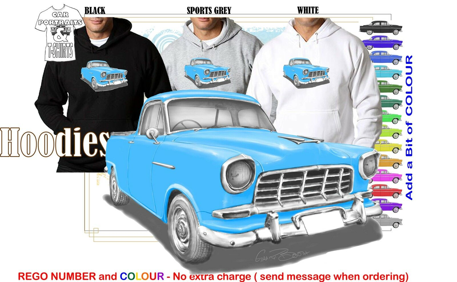 58-60 FC HOLDEN UTE HOODIE ILLUSTRATED CLASSIC RETRO MUSCLE SPORTS CAR