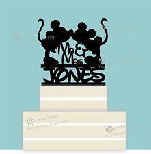 Disney Personalised Mr & Mrs Wedding Cake Topper, Couple, Black Acrylic