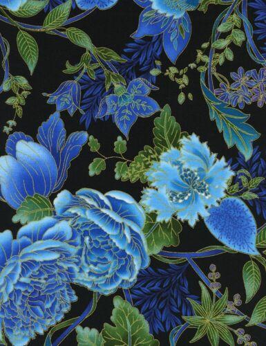 Floral Fabric Eden Blue Green Metallic Flower Black Timeless Treasures YARD