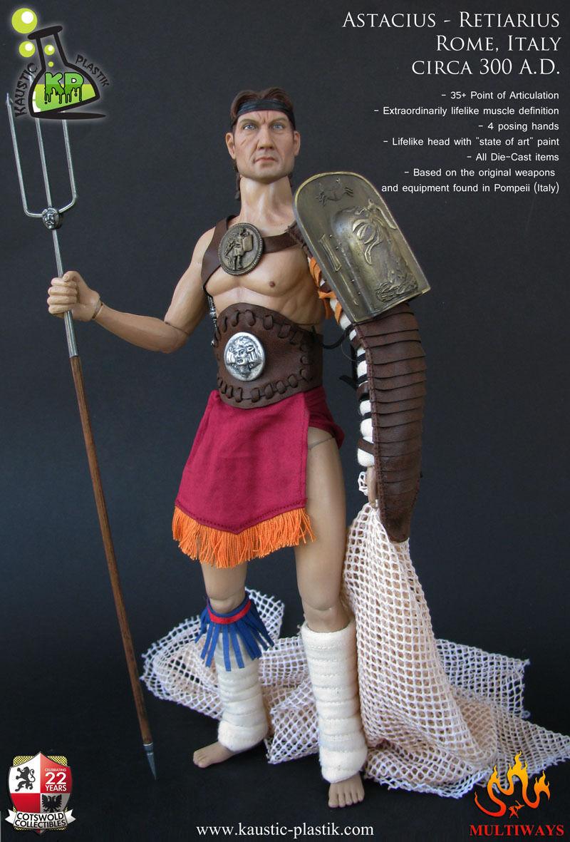 Kaustic Platik retiarius Roma-Italia Roma Gladiador astacius 1 6 figura