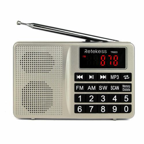 TR603 Retekess AM//FM Mini Radio Shortwave Transistor MP3 Player Large LED Screen