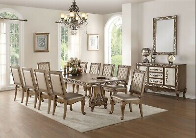 11 piece dining room set acme furniture orianne 11 piece antique gold double pedestal dining room set ebay 5519