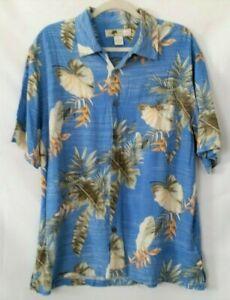 Joe-Marlin-Men-039-s-Hawaiian-Shirt-Size-Xl-Short-Sleeve-Blue-Green-Palm-Tree