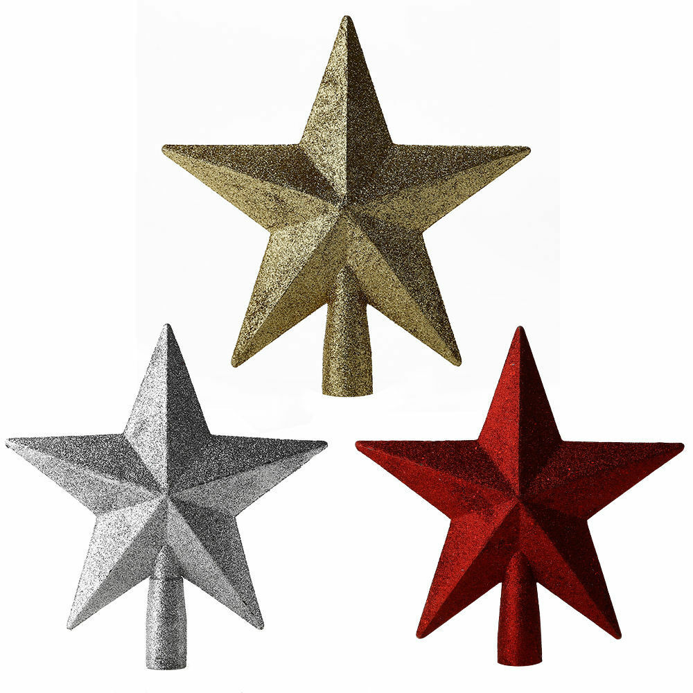 Gold/Red/Silver Christmas Tree Top Sparkle Stars Xmas ...