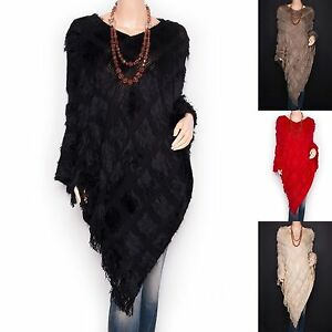 Trendy-Faux-Fur-V-Neck-Angled-Hem-Fringes-Poncho-Top